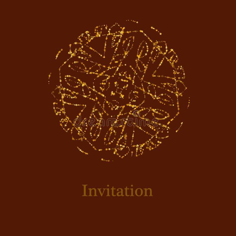 Stella dorata di scintillio Mandala astratta su un fondo marrone illustrazione di stock