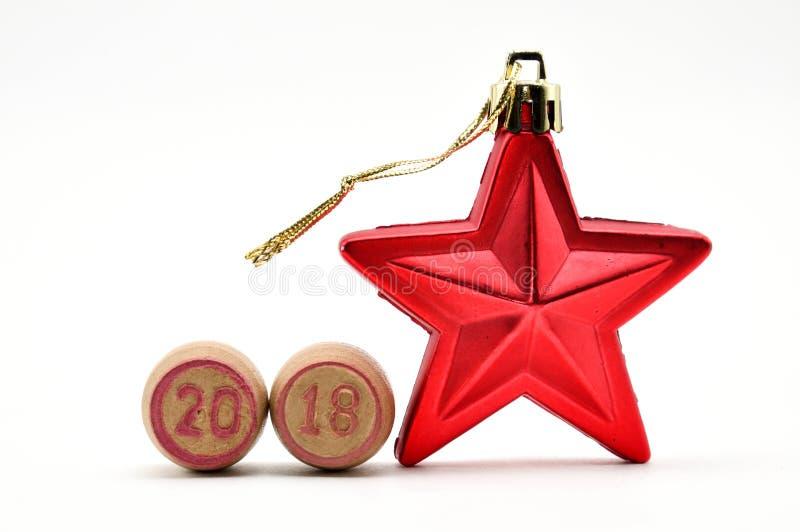 Stella e cifre 2018, nuovo anno e Natale sui barilotti per il lotto immagini stock libere da diritti