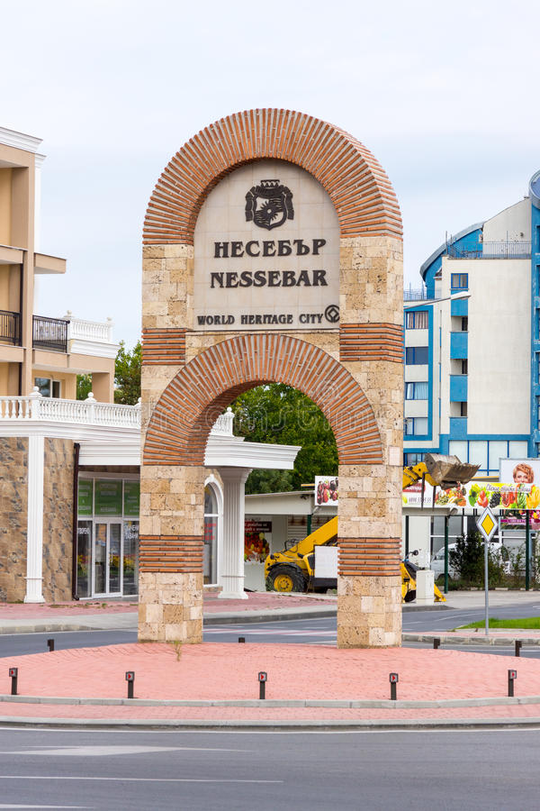 Stella at the entrance to the town of Nessebar in Bulgaria royalty free stock photography