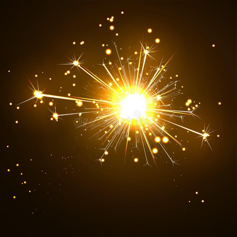Stella filante emettendo luce, scintillare e di vescica su Brown scuro royalty illustrazione gratis