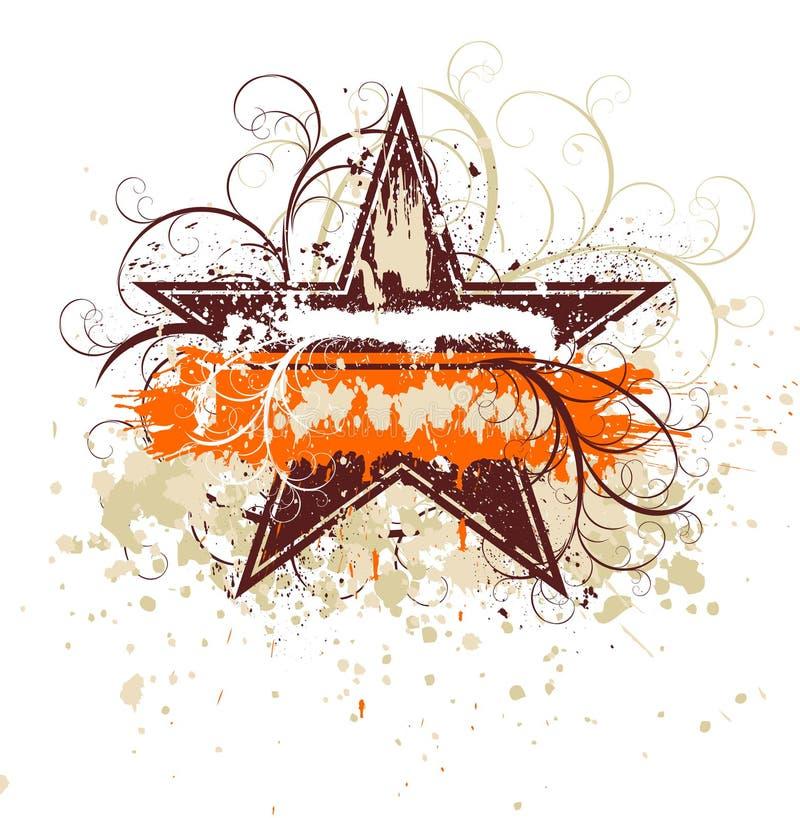 Stella floreale di Grunge illustrazione di stock