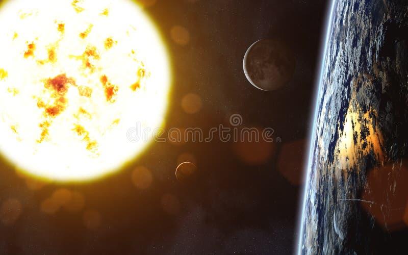 Stella gigante rossa Sun Paesaggio della terra Luna venus fotografie stock