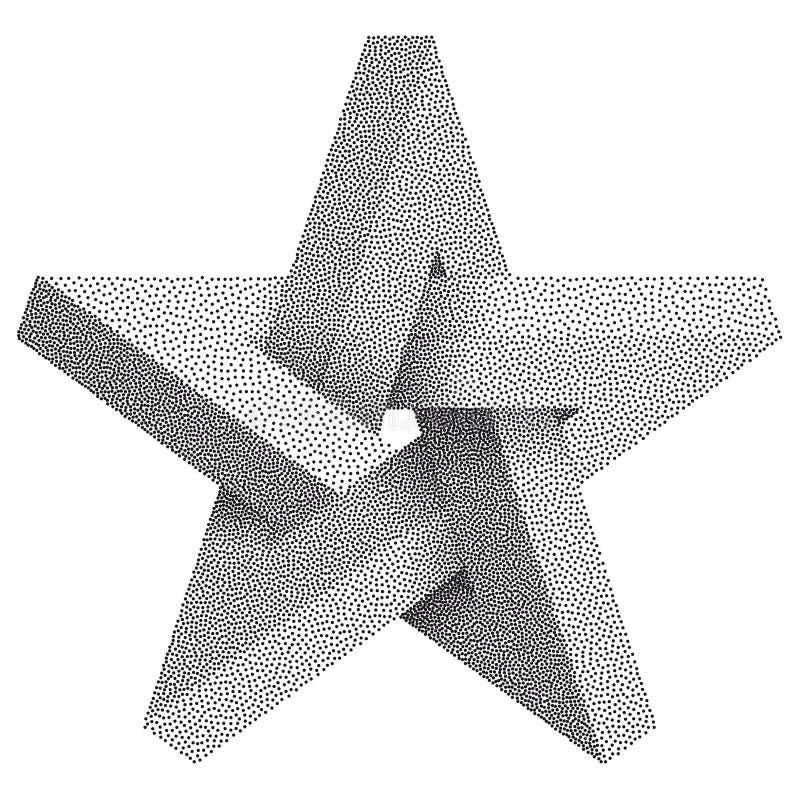 Stella impossibile con i punti neri Stella impossibile su fondo bianco Simbolo geometrico irreale per il vostro progetto di affar illustrazione di stock