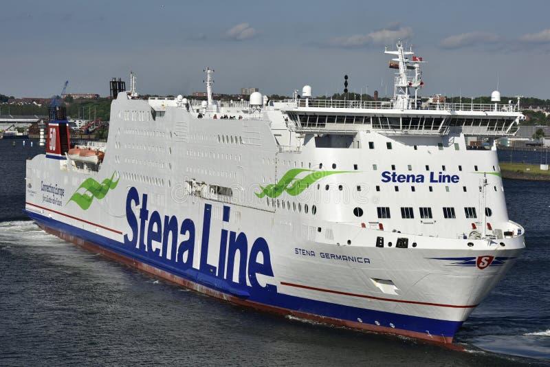 Stella Line Ferry in de Haven van Kiel, Duitsland stock fotografie