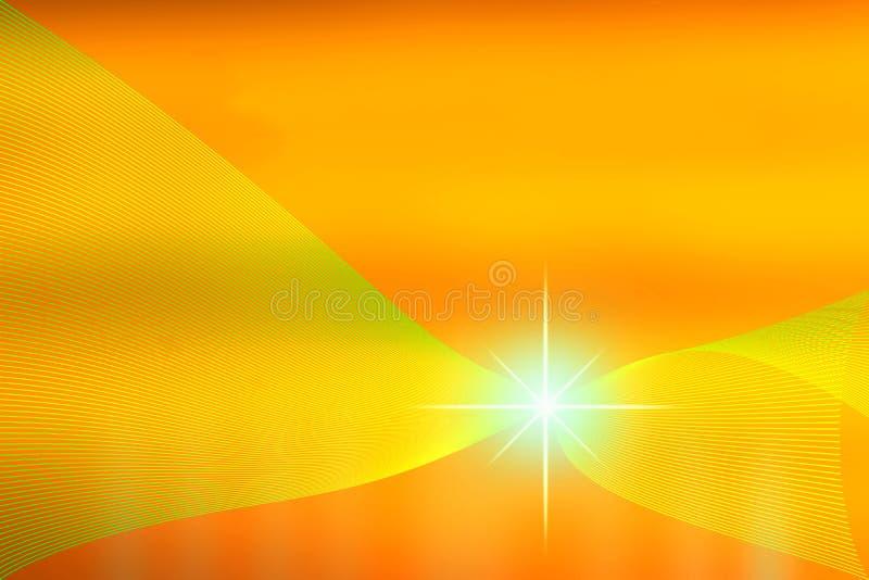 Stella luccicante astratta nel giallo caldo e nel fondo arancio illustrazione di stock