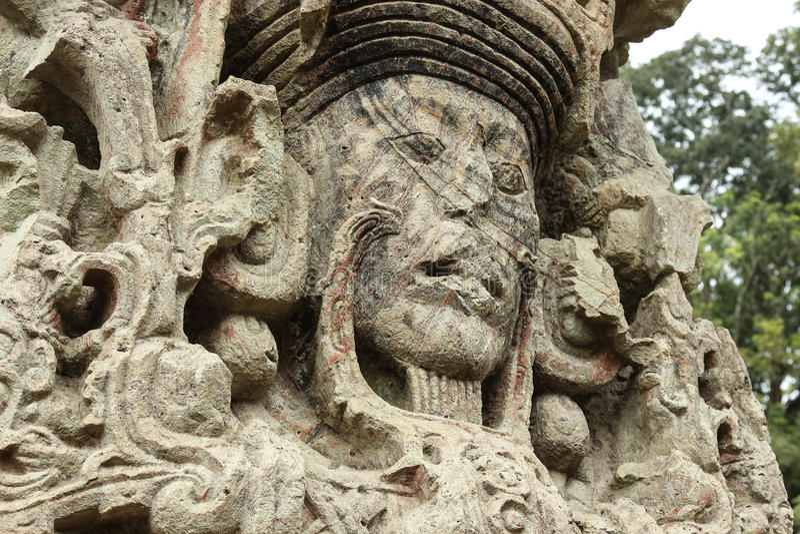 Stella maia cinzelada, ruínas de Copan, Honduras foto de stock