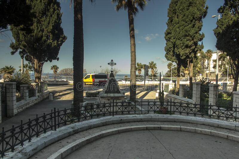 Stella Maris Monastery, Haifa, Israel. A monument standing at the church dedicated to French soldiers killed by the troops of Jazzar Pasha, the Ottoman fodder stock photos
