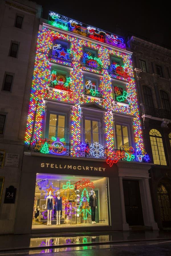 Stella McCartney Store på jul i London royaltyfria bilder