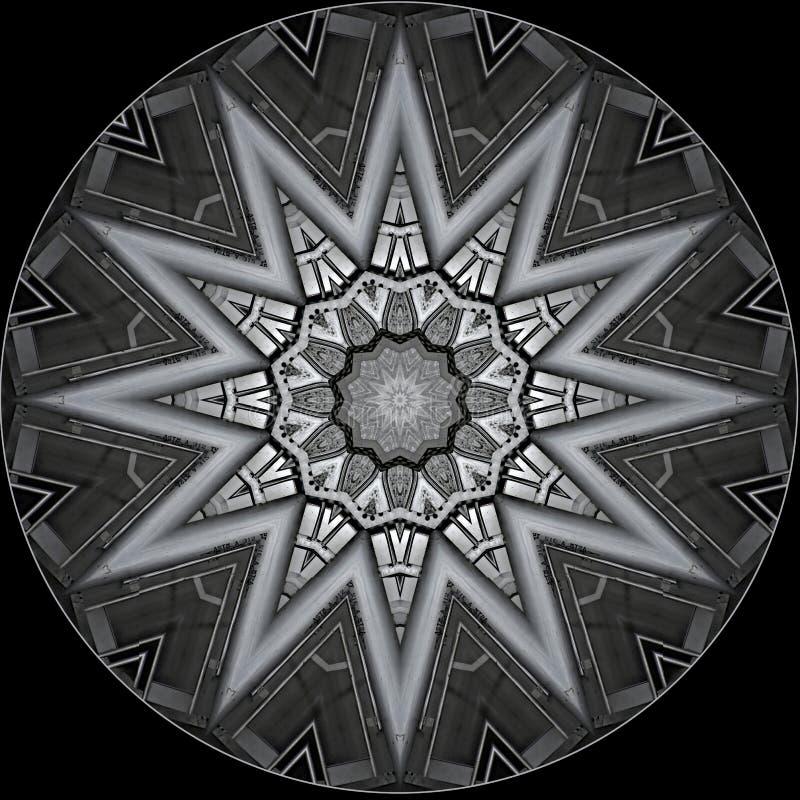 Stella metallica grigia in un cerchio illustrazione di stock