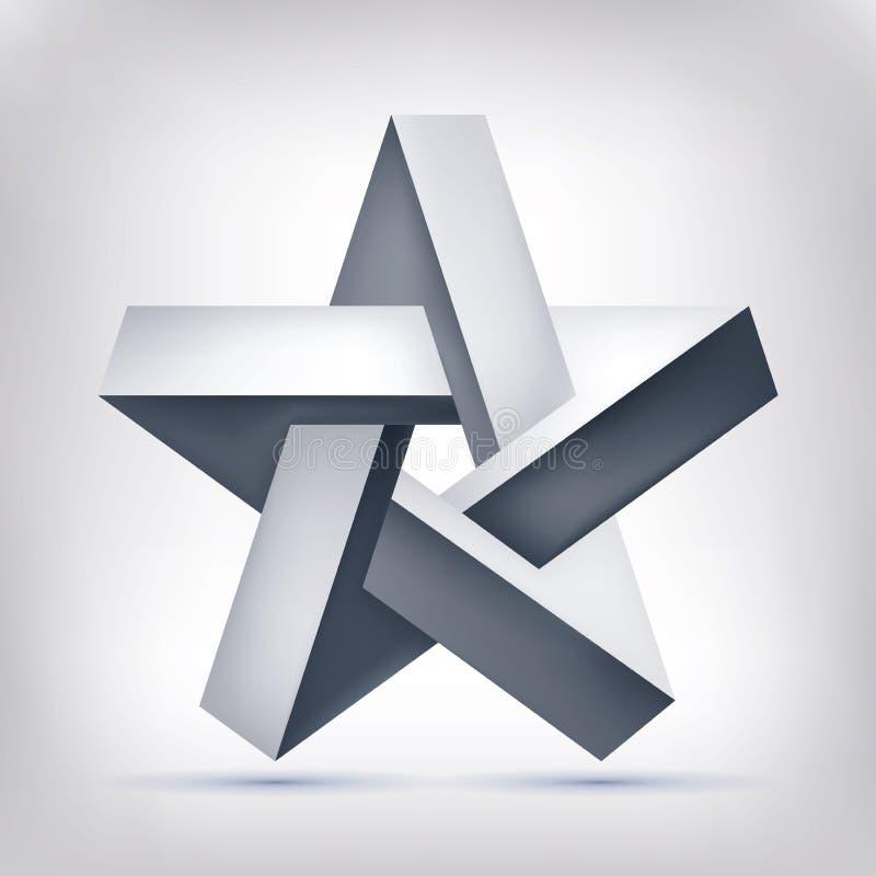Stella pentagonale di illusione Forma irreale a cinque punte, oggetto inesistente della geometria, progettazione astratta di vett illustrazione vettoriale