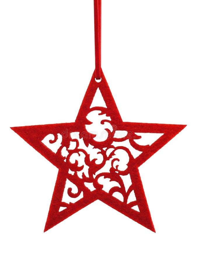Stella rossa di Felted con l'ornamento floreale immagini stock libere da diritti