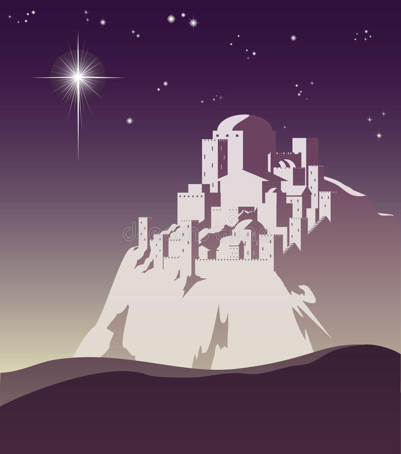 Stella sopra Bethlehem illustrazione di stock