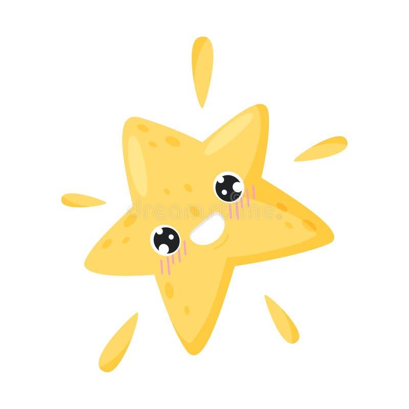 Stella sorridente su fondo bianco Illustrazione di vettore illustrazione vettoriale
