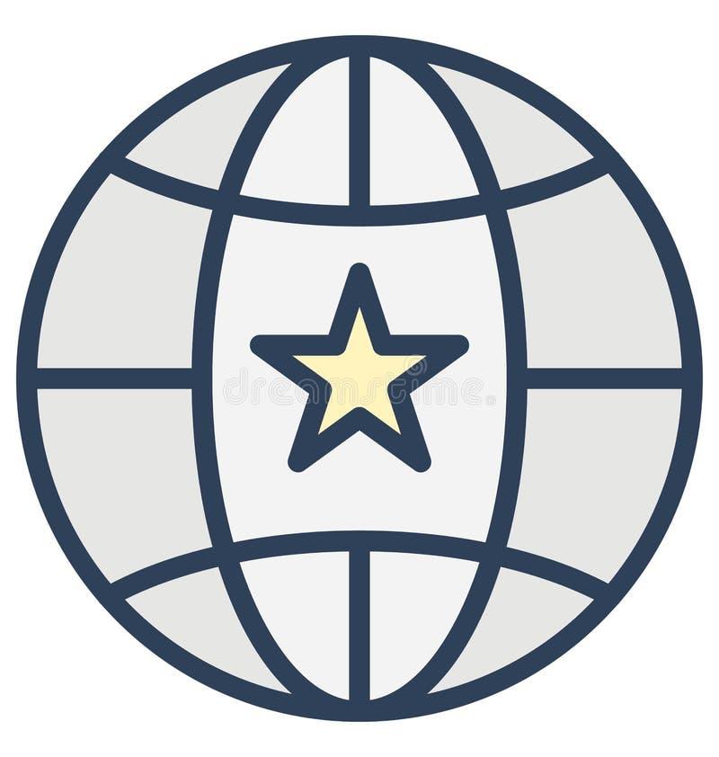 Stella sul globo, icona di vettore isolata favorito che può essere molto facilmente di pubblicare o modificato illustrazione di stock