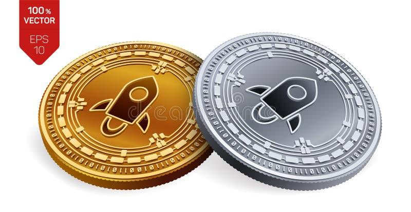 stellaire Crypto devise pièces de monnaie 3D physiques isométriques Devise de Digital Pièces d'or et en argent avec le symbole st illustration stock