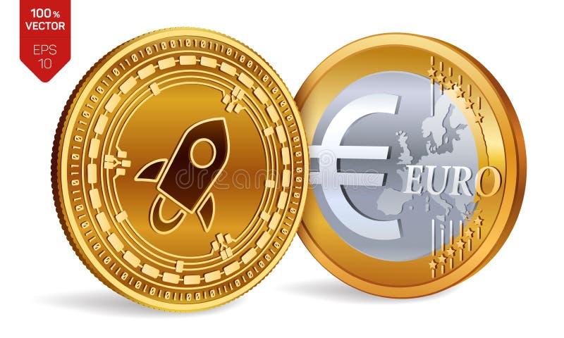 stellaire Euro pièce de monnaie pièces de monnaie 3D physiques isométriques Devise de Digital Cryptocurrency Pièces de monnaie d' illustration libre de droits