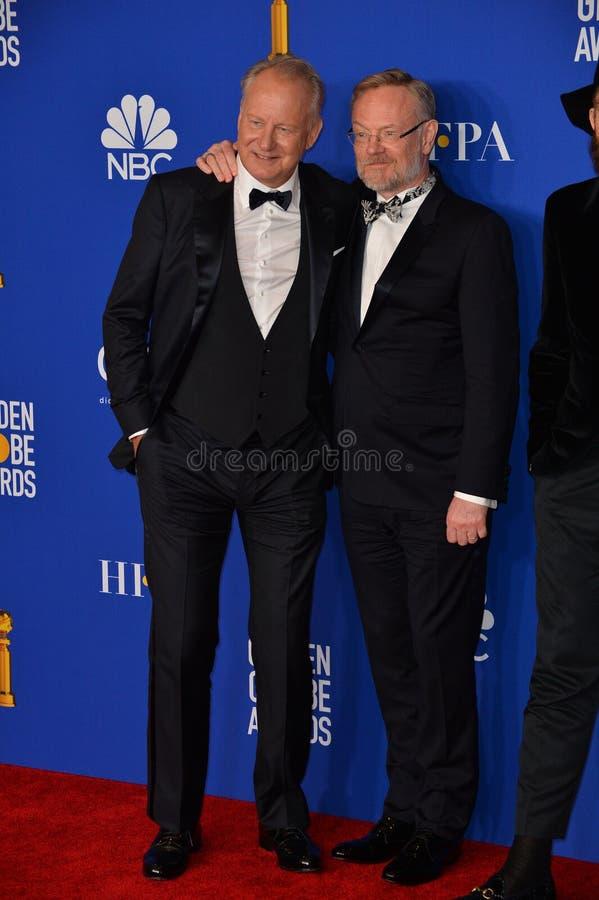 Stellan Skarsgard & Jared Harris. LOS ANGELES, USA. January 05, 2020: Stellan Skarsgard & Jared Harris in the press room at the 2020 Golden Globe Awards at the stock images