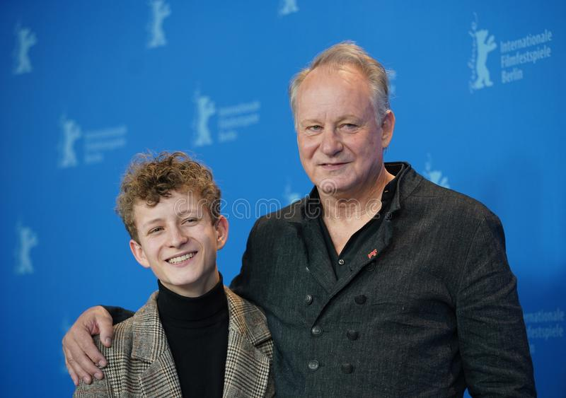 Stellan Skarsgard. Jon Ranes attend the `Out Stealing Horses. ` Photocall at the 69th Berlinale International Film Festival Berlin on February 9, 2019, in Berlin stock image