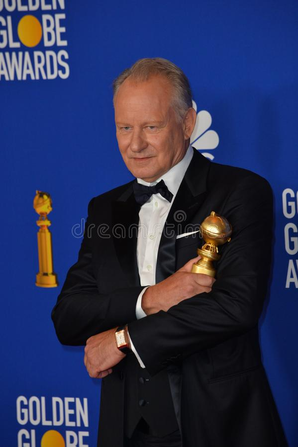 Stellan Skarsgard. LOS ANGELES, USA. January 05, 2020: Stellan Skarsgard in the press room at the 2020 Golden Globe Awards at the Beverly Hilton Hotel..Picture stock photography