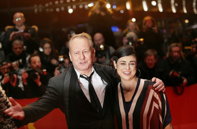 Stellan Skarsgard and Megan Everett. Attend the `Return to Montauk` Rueckkehr nach Montauk premiere during the 67th Berlinale Film Festival Berlin at Berlinale stock photography
