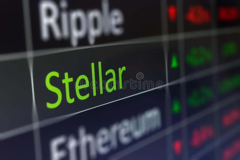Stellar Coin crypto trading chart for buying and selling XLM. F royalty free stock photography