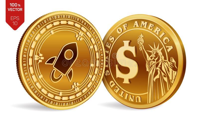 stellar Moneta del dollaro monete fisiche isometriche 3D Valuta di Digital Cryptocurrency Monete dorate con il simbolo i del doll illustrazione vettoriale