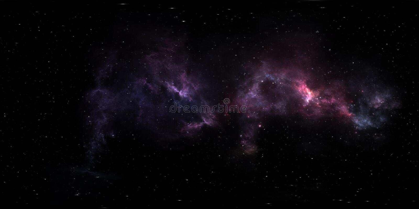 Stellar system and nebula. Panorama, environment 360° HDRI map. Equirectangular projection, spherical panorama. 3d illustration stock illustration
