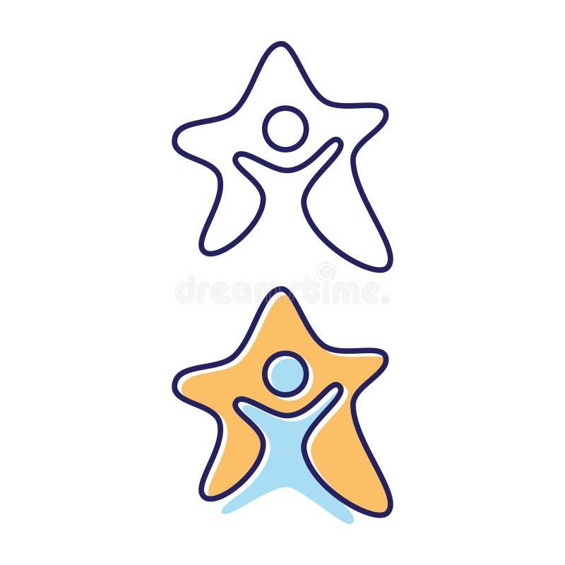 Stelle astratte con il simbolo di vettore della gente nello stile piano illustrazione vettoriale
