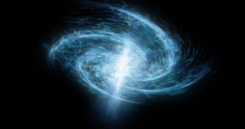 Stelle astratte e sfondo galattico Una grande galassia ruota ed emette una luce blu luminosa fotografie stock libere da diritti