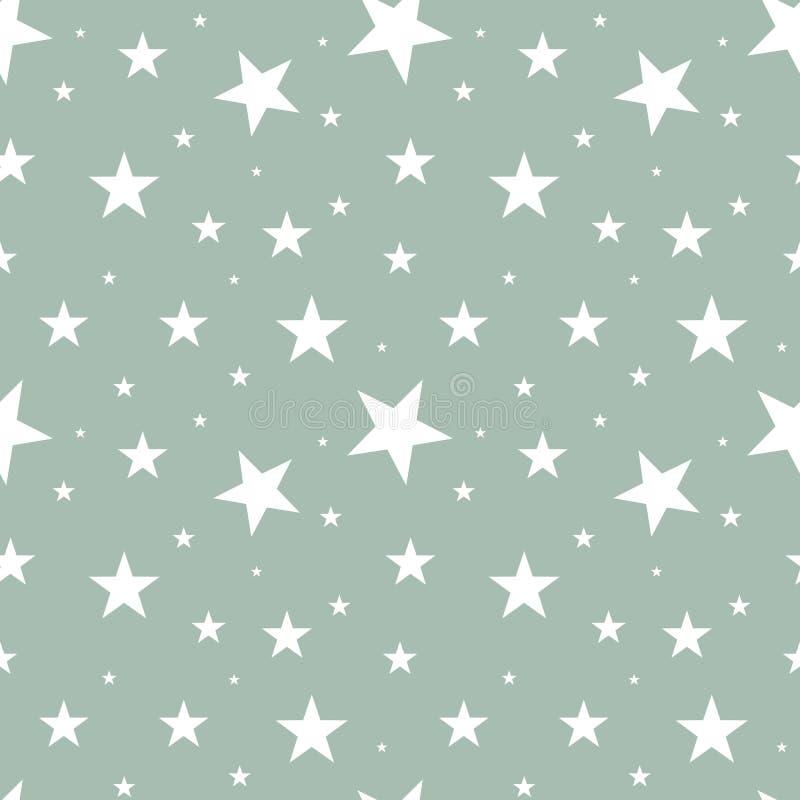 Stelle bianche del modello senza cuciture delle dimensioni differenti sparse nell'ordine casuale su fondo grigio Retro stile scan royalty illustrazione gratis