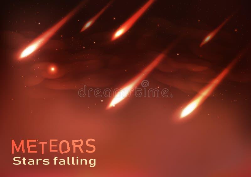 Stelle cadenti delle meteore che sparano le scintille brucianti della fiamma di astronomia illustrazione di stock