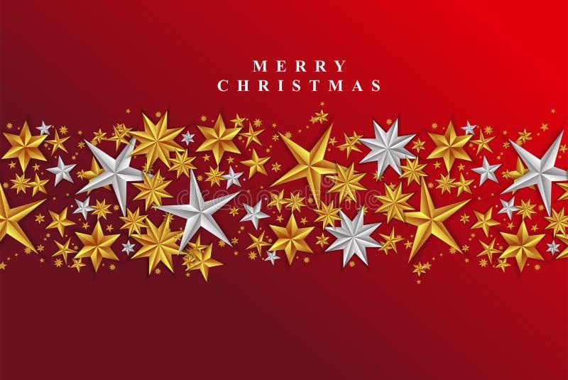 Stelle d'oro e d'argento Biglietto auguri Natale Chic illustrazione di stock