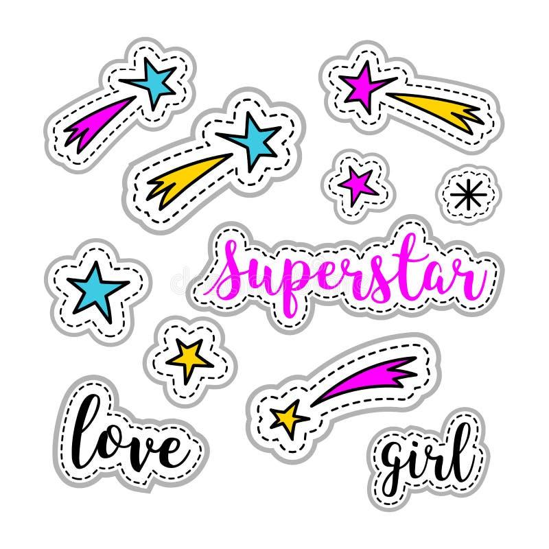 Stelle degli autoadesivi della ragazza, fuoco d'artificio, logo del superstar, iscrizione di amore Retro elemento 80s-90s, icone  illustrazione vettoriale