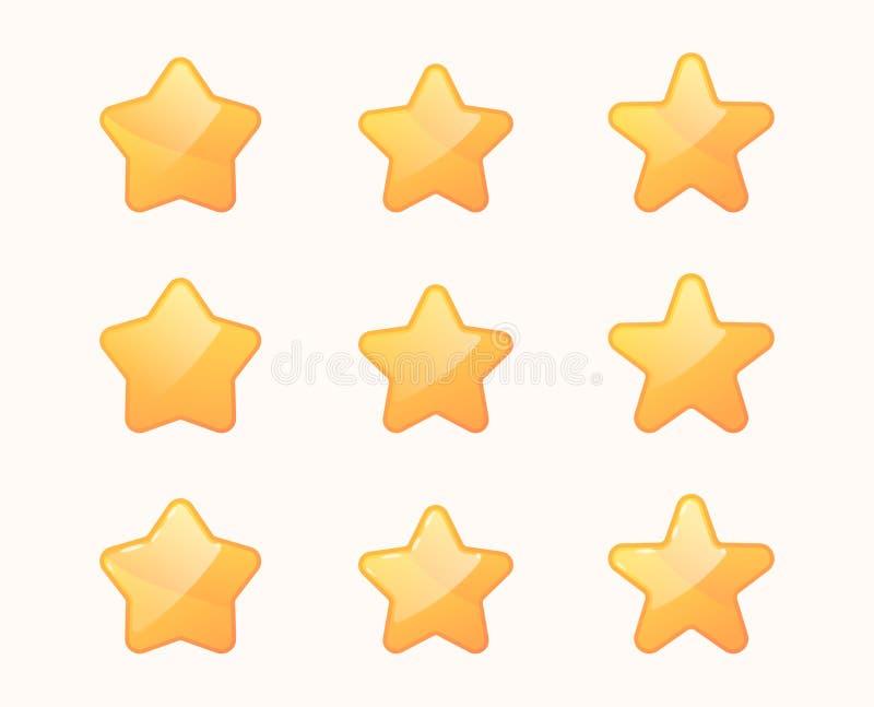 Stelle del fumetto messe Icone dorate della stella illustrazione di stock