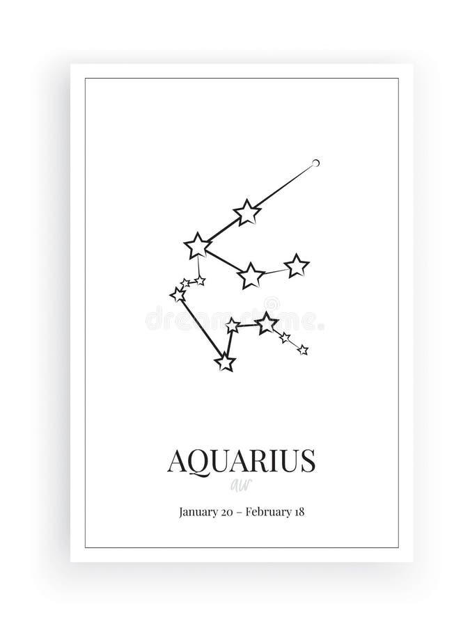 Stelle del segno di acquario dello zodiaco, segno di acquario di simbolo, progettazione minimalista del manifesto, vettore, proge illustrazione vettoriale