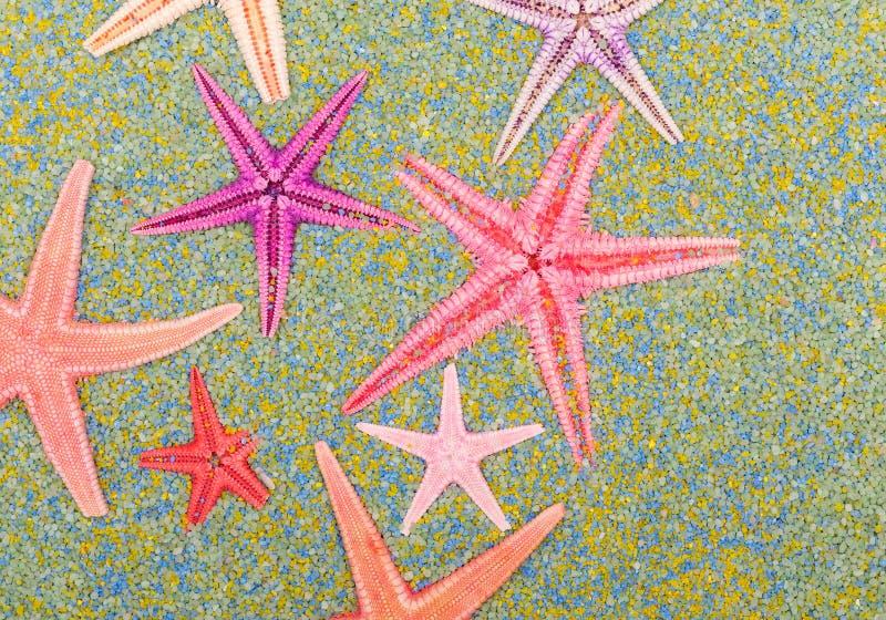 Stelle di mare sulla sabbia variopinta immagini stock libere da diritti
