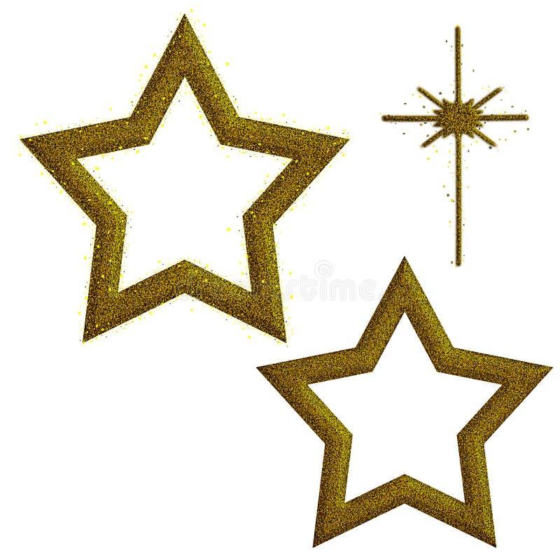 Stelle di natale di scintillio dell'oro, assorted, sopra bianco illustrazione vettoriale