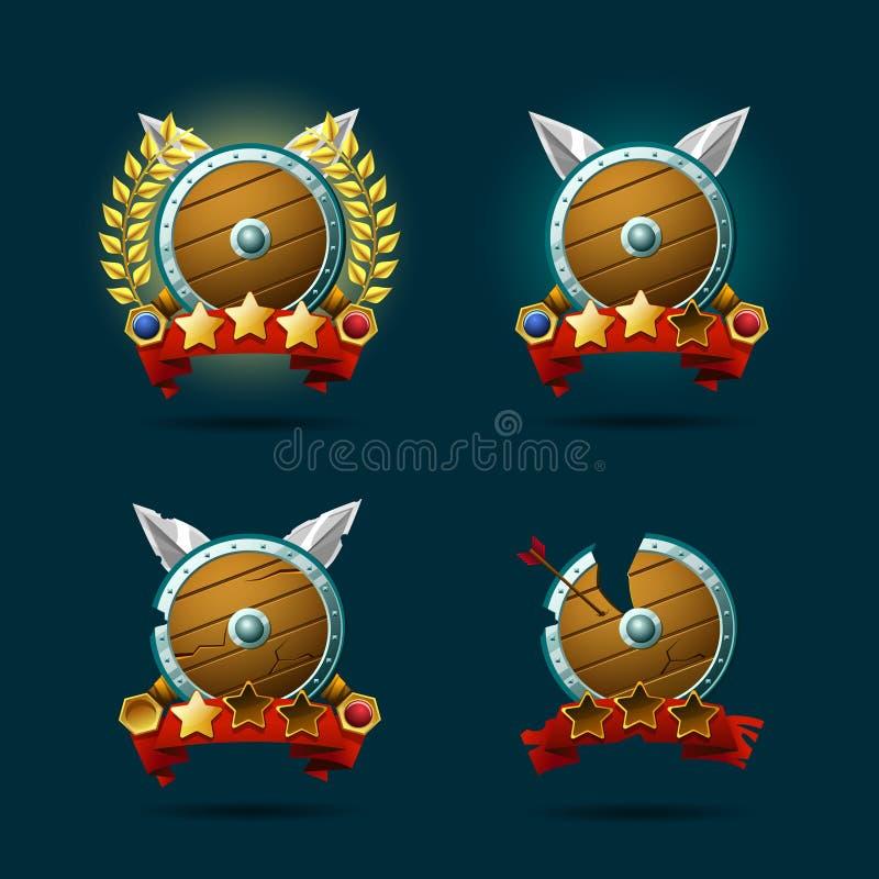 Stelle di vittoria del gioco, beni del fumetto per la progettazione del gioco royalty illustrazione gratis