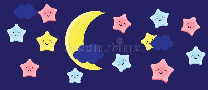 Stelle e mezzaluna sveglie di kawaii Il fondo per i bambini, i bambini ed i bambini progettano con i caratteri del cielo notturno royalty illustrazione gratis