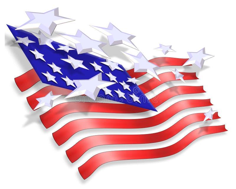 Stelle e priorità bassa patriottica delle bande illustrazione di stock