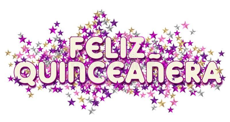 Stelle felici di arte di quinceanera royalty illustrazione gratis