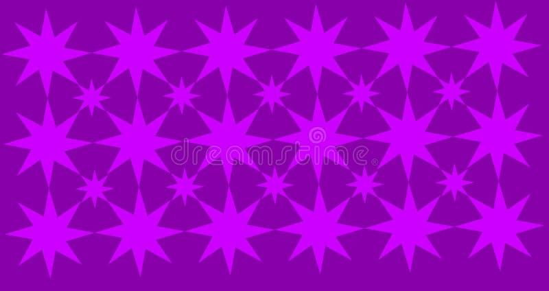 Stelle geometriche astratte wpattern con fondo porpora illustrazione di stock