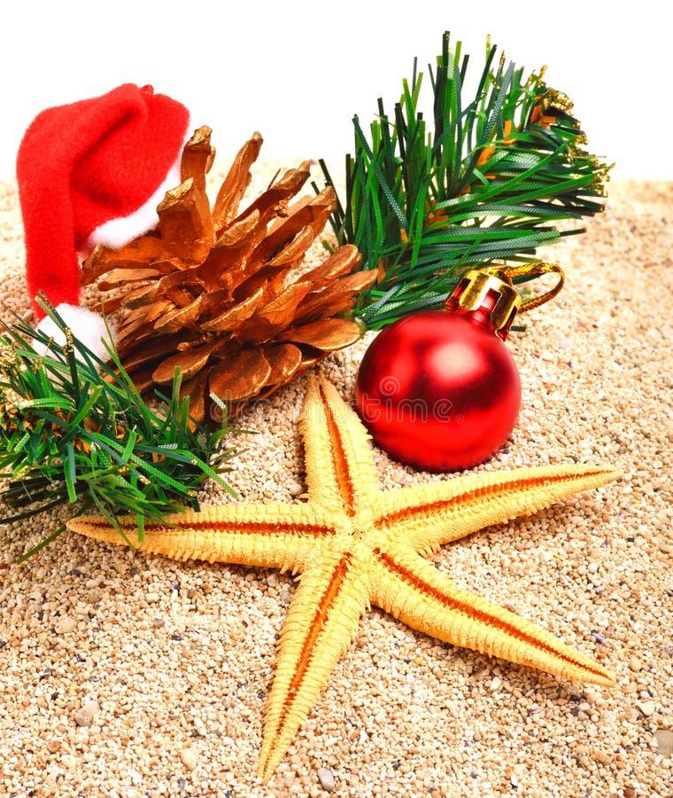 Stelle marine, palla di natale, cappello di natale e ramoscello del pino sulla sabbia fotografia stock