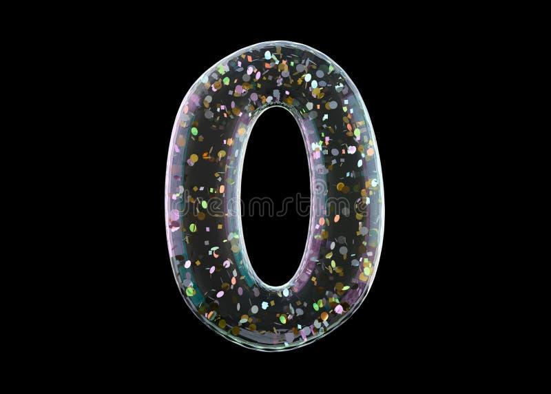 Stelle null Alphabet von den transparenten Folienballonen 3d stock abbildung