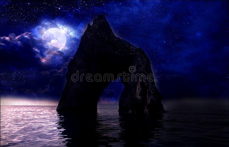 Stelle, nuova luna sopra il mare alla notte immagine stock libera da diritti