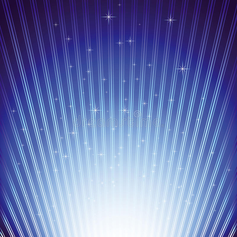 Stelle scintillanti sul burst blu dell'indicatore luminoso royalty illustrazione gratis