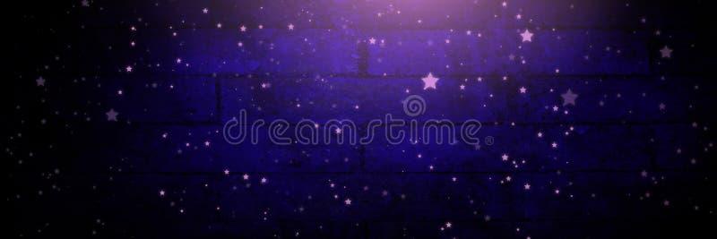 Stelle sopra la scenetta e la luce sul fondo porpora del muro di mattoni illustrazione vettoriale