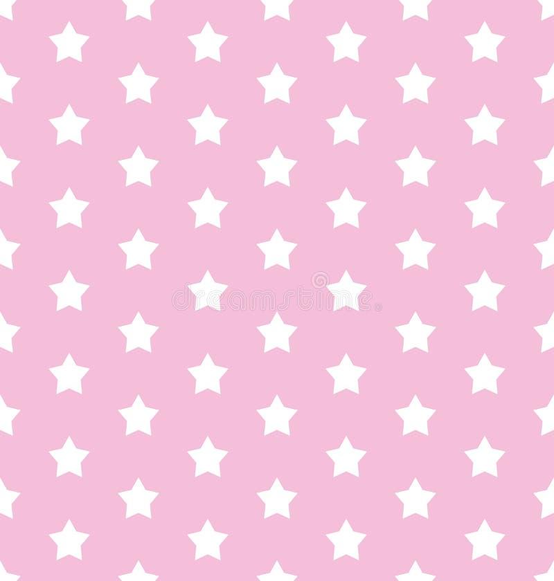 Stelle su un retro modello senza cuciture per l'imballaggio, tessuto, carta, fondo di vettore del fondo abbastanza rosa illustrazione vettoriale