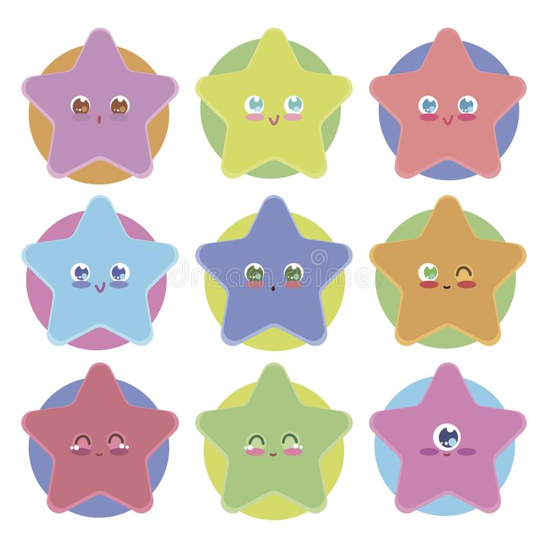 Stelle sveglie con gli occhi di kavai su un fondo degli autoadesivi isolati luminosi multicolori degli oggetti di vettore su un f illustrazione di stock