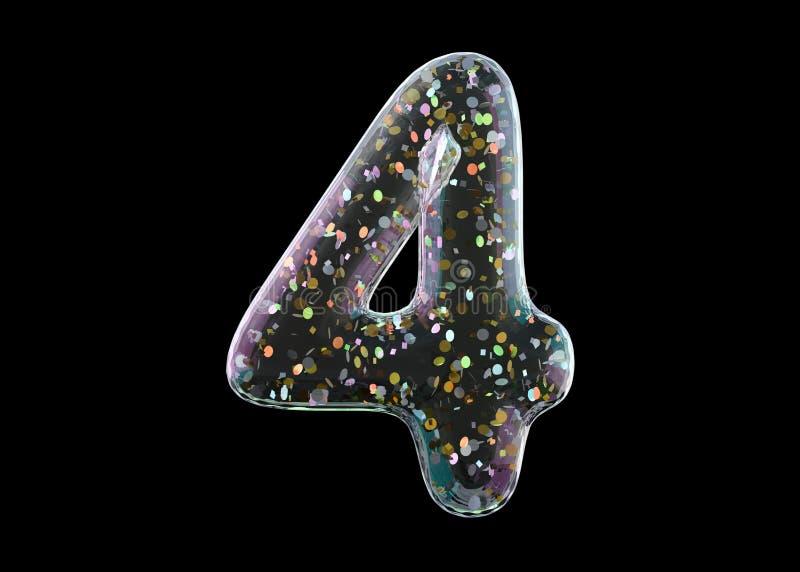 Stelle vier Alphabet von den transparenten Folienballonen 3d stock abbildung